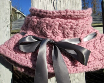 Pretty in Pink Cowl with Grey Ribbon