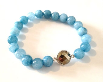 Baby Blue Jade and Pyrite Bracelet