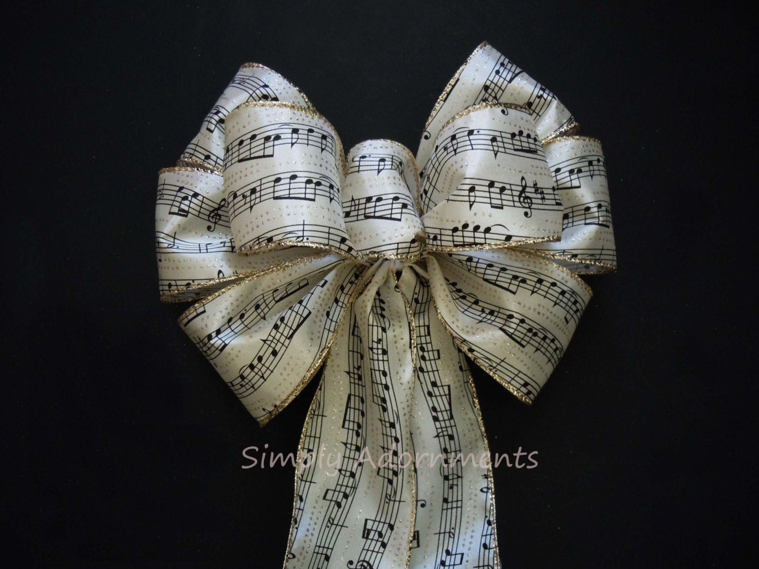 Ivory Gold Black Musical Themed Wedding Party Bow Wreath Bow Music Themes Party Decoration Bow Church Aisle Decoration Bow Gift Bow
