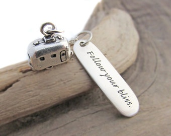 Sterling Silver Trailer Charm Necklace Follow Your Bliss Quote Retirement Gift Gift for Retiree