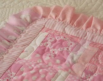 Handmade CUSTOM MADE special order baby quilt, nursery decoration, shabby chic, keepsake, ruffles, shower gift, girl or boy, embroidery