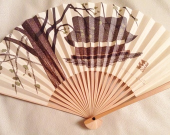 Japanese Fan with tree and temple.