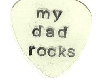 Aluminum Guitar Pick Traditional style - Personalized customized Hand Stamped hammered guitar pick - my dad rocks - Best Gift for musician