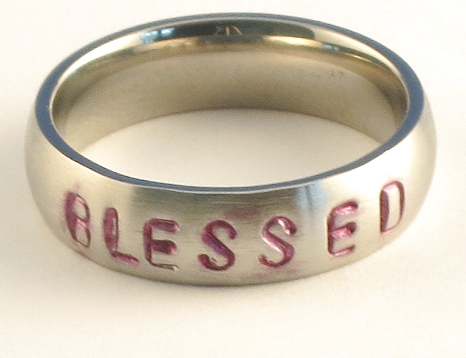 BLESSED - Personalized Hand Stamped Customized Stainless Steel Low Dome Name Ring 5mm Ring Sizes 3-14