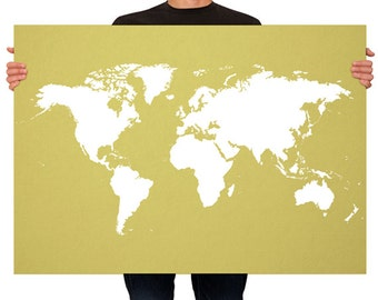 Large Map of the World Map Olive Color - Map Print LARGE - MEDIUM SIZE