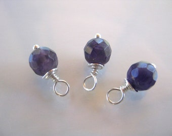 Faceted Amethyst Dangles, 6mm natural gemstones with sterling silver wire wrap. 3 dangles February birthstone