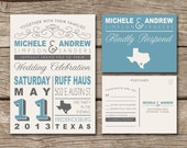 Wedding Invitation & RSVP Postcard // Rustic, Country, Typography, Western, Vintage, Destination Wedding, Printed, Modern, Unique