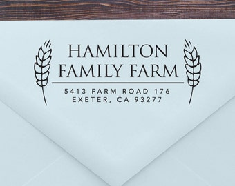 Return Address Stamp, Self Inking Stamp, Return Address Stamp, Wedding Gift, Housewarming, Farm Stamp, Personalized, Wood Handle (T177)