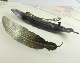 1PCS antique bronze 110x23mm feather hair barrette- W06211