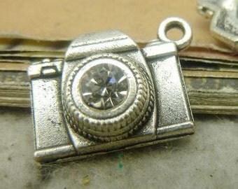10PCS antique silver 15x20mm rhinestone camera charm pendant- WC5127