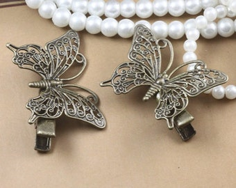 10PCS antique bronze 36x25mm hair clip with butterfly filigree componnets- x07249