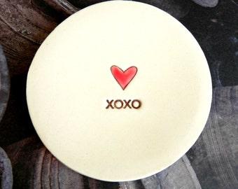 Ceramic Ring Dish Red Heart XOXO Minimalist Pottery Plate Jewelry Dish Recycled Box