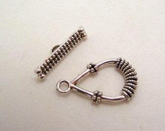 bali style silver tone toggle clasps 30mm - 2 clasps