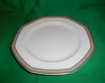 """One (1), 8"""" Porcelain Salad Plate, from Mikasa, in the Tudor Row Y0080 Pattern."""