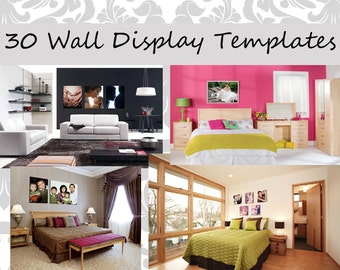 Wall display template 30 pack realistic rooms comes - Photo wall display template ...