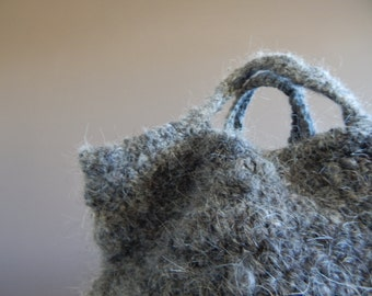 "Vintage Grey Wool Basket Bag, 13"" x 10"" Wool Bag, Wool Tote, Natural Wool, Undyed Wool,Charcoal Wool, eco friendly,Slow Design- momoish made"