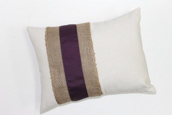 Items similar to PILLOW, PILLOW COVER. Plum ribbon on Burlap pillow cover Decorative lumbar ...