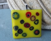 Funky Fused Glass Square Pendant