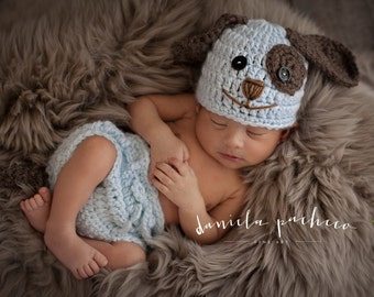 Baby Boy Hat PUPPY LUV Newborn Baby Boy Crochet Doggy Hat / Diaper Cover  Cream Brown Blue