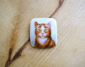 Animal Brooch Red Ginger Cat, cat jewelry, for cat lovers, watercolor hand painting, square pin, white and brown