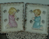 Vintage Mid Century Girl And Boy Nightly Prayers Ceramic Wall Plaques By ART Japan
