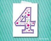 Birthday candle photo prop printable - number 4 girl
