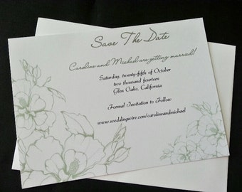 Floral Moss Green Save The Date Card, Country, Flowers, Traditional, Elegant Wedding Invitation, Simple, Chic Wedding Invitation