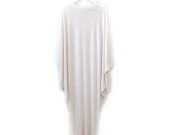 Ivory Drape Ghost Dress Long Sleeve Viscose Jersey White Cream
