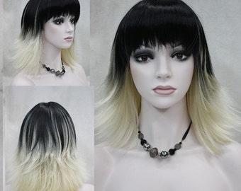 Daria // black to blonde ombré full synthetic wig