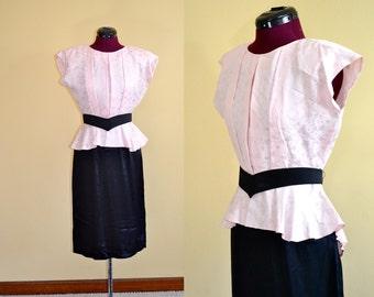 1970s Vintage Zum Zum Pink and Black Peplum 1940s Style Dress size 7 (S) bust 36