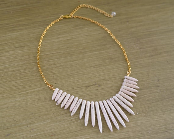 White Turquoise Spike Necklace - White Statement Necklace - White Beaded Necklace - White Gold Silver Necklace