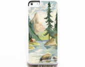 iPhone 5C Case.Vintage Paint By Number Mountains. iPhone 5C Cases. Phone Case. Case for iPhone 5C. PBN.