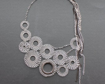 MONACO Silver  Wire Crocheted Statement Bib Necklace/ Modern Elegant Unusual Geometric Large Rounds and Chain Lacy Necklace. Made to order