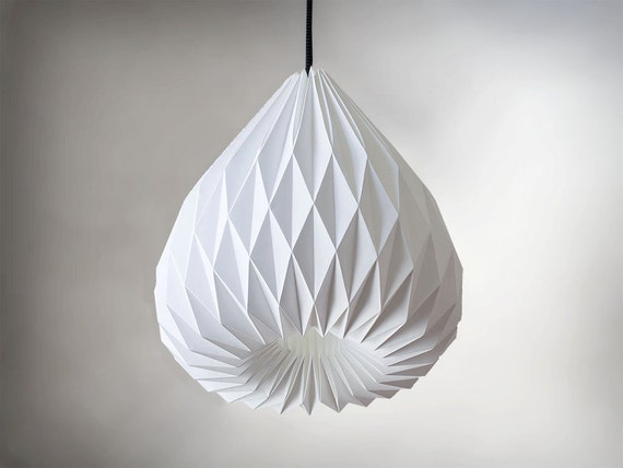 snowdrop origami paper lampshade by werkdepot on etsy. Black Bedroom Furniture Sets. Home Design Ideas