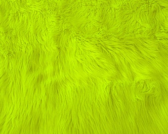Faux Fur Shag Highlighter Yellow 60 Inch Wide Fabric by the Yard, 1 Yard.