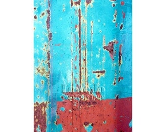 Turquoise Abstract Photo, Aqua, Red, Modern Art, Contemporary Decor, Large Wall Art, Bright Home Decor