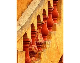 Red Banister Photo, French Restaurant, Abstract Photography, Red, Gold, Geometric, Architecture Photo, Provence, France