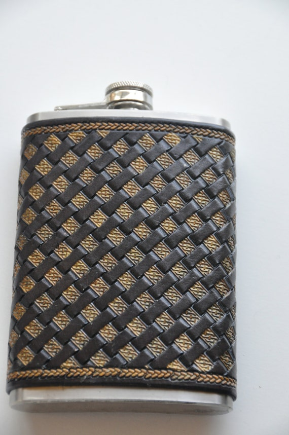 Basket Weave Pattern On Leather : Items similar to flask wrapped in leather basket weave