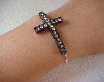 CHRISTIAN jewelry Silver Rhinestone Sideway Black Cross BRACELET or NECKLACE / Sterling silver cross necklace chain silver bracelet