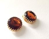 Vintage Signed Whiting Davis Glass Dark Amber Clip Earrings