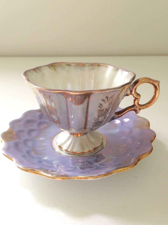 vintage pedestal opalescent demitasse tea cup and saucer lilac. Black Bedroom Furniture Sets. Home Design Ideas