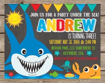 Under The Sea Birthday Invitation, Under The Sea Party, Pool Party Invitation, Shark Party Invitation, Chalkboard Invite PRINTABLE / PRINTED
