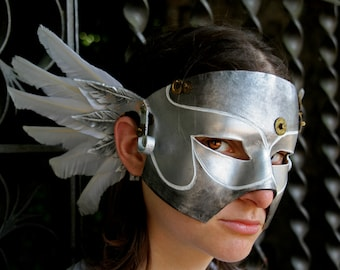 MADE TO ORDER - leather mask goose feather white silver metal effect steampunk angel renaissance gear larp halloween wings