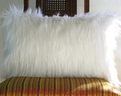 White fur pillow covers 12 X 20 decorative white fur white suede Ivory fur pillow cover ONE