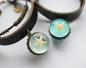 Real Starfish Bracelet Minty Blue Wristband Faux Leather Wrap Bracelet Nautical Jewelry Sea Beach Summer Ocean