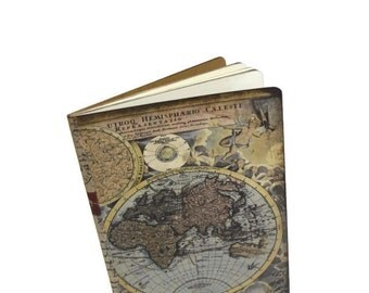 Adventure Travel Journal, Antique World Map Notebook, Vacation Diary, Trip Log, Old World Map, Altered Journal, Travel Gift