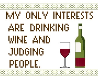 Cross Stitch Patterns -- Wine and judgment, in 2 versions