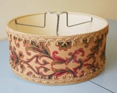 Vintage round fabric tapestry embroidered lightshade Looks to be 1940s 1950s era