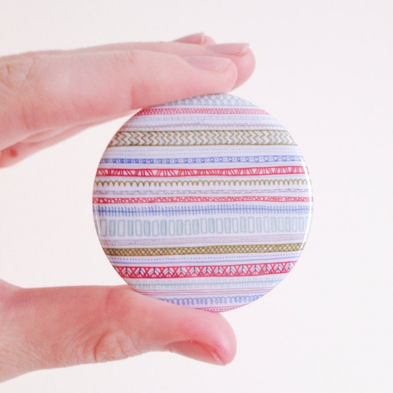 SALE / Reddish Pattern Pocket Mirror / Illustration / Pattern / Detail / Compact mirror / Red accent  / Round mirror