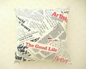 """Newspaper Pop Art Print Pillow Cover - Navy Blue and Red Book Print on White Linen Fabric - 18x18"""" - Ready to Ship - Gift for Mom"""